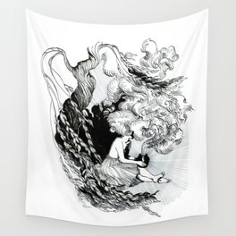 Pandora opens the vase under a weeping willow Wall Tapestry