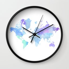 BLUE WATERCOLOR TRAVEL MAP Wall Clock