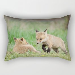 Coming to Get You (Baby Foxes) Animal / Wildlife Photograph Rectangular Pillow