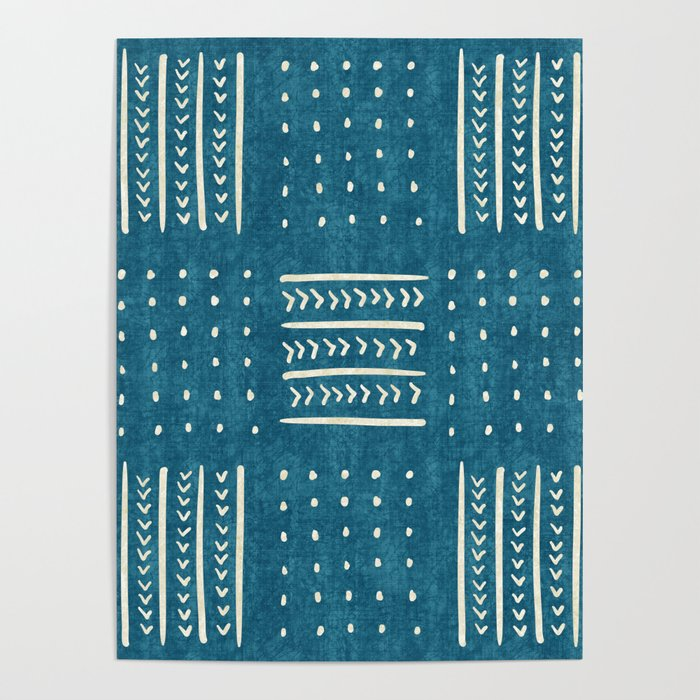 Mud Cloth Patchwork in Teal Poster