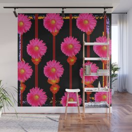 Fuchsia Gerber Daisy Flowers & Black Patterns Wall Mural