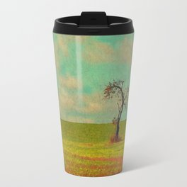Lonesome Tree in Lime and Orange Field and Aqua and White Sky Travel Mug