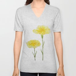yellow carnation watercolor painting Unisex V-Neck