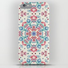 Pastel Blue, Pink & Red Watercolor Floral Pattern on Cream Slim Case iPhone 6 Plus