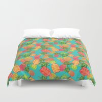 pineapples Duvet Covers featuring Pineapples by Laura Barnes