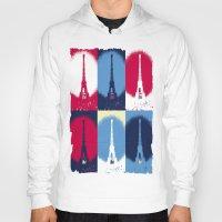 eiffel tower Hoodies featuring Eiffel Tower by Aloke Design