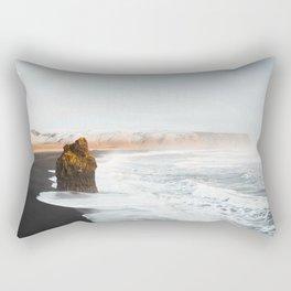 Aerial Black Sand Beach, South Iceland Rectangular Pillow