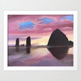 Pink Clouds at Haystack Rock Art Print