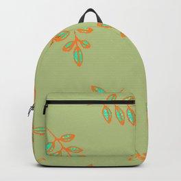 Speckled leaf print pattern, sage green orange teal blue Backpack