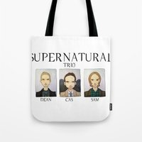 supernatural Tote Bags featuring SUPERNATURAL by Space Bat designs