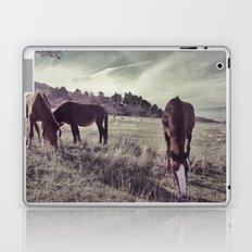 Mountains horses. Retro Laptop & iPad Skin