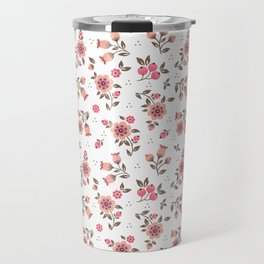 Folk floral pattern. Pink Flowers. Travel Mug