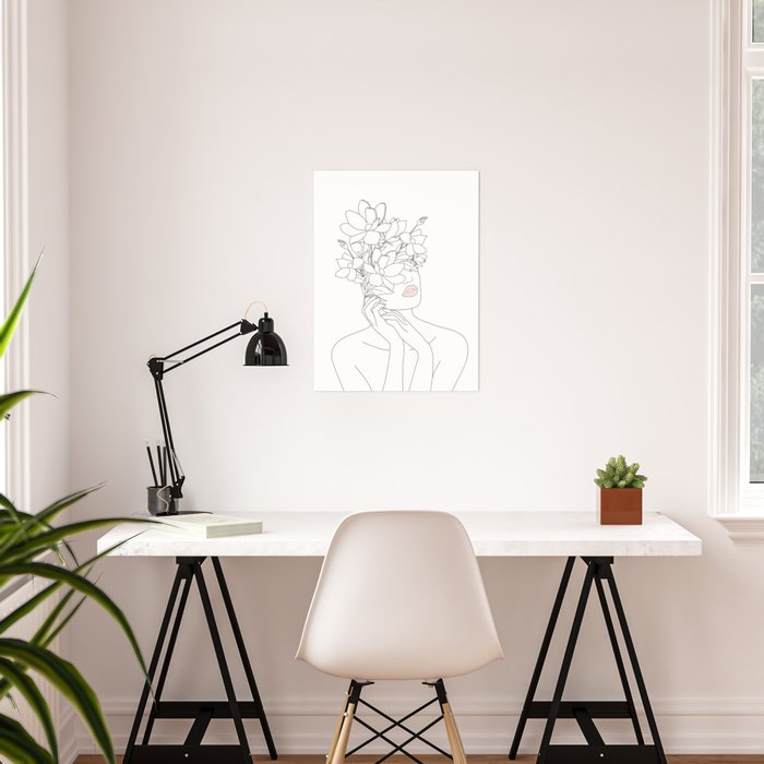 Minimal Line Art Woman with Magnolia Poster