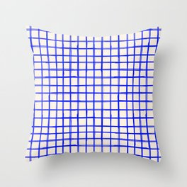 Indigo Blue Grid Pattern Square Lines Pattern Print Beige Throw Pillow