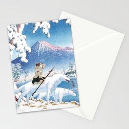 Mononoke and the wolves vintage japanese mashup Stationery Cards