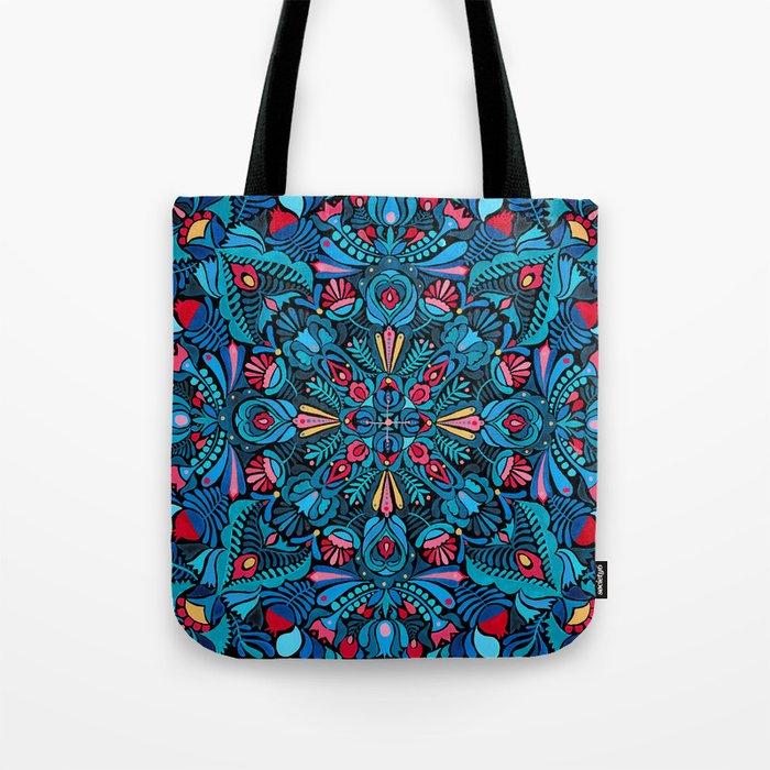Pink, light blue floral mandala on black Tote Bag