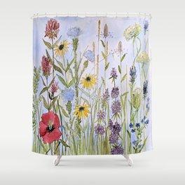 Wildflower Garden Watercolor Flower Illustration Shower Curtain