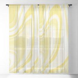 Yellow White Wavy Swirls Marble Fluid Art Design 2021 Color Of The Year Illuminating 13-0647  Sheer Curtain