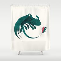 toothless Shower Curtains featuring toothless by yohan sacre
