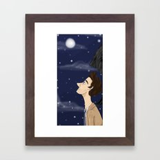 Castiel in thought Framed Art Print