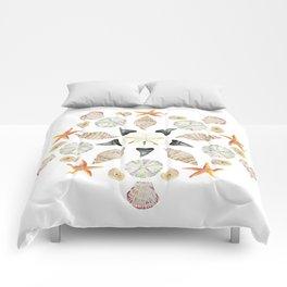 Florida Beachcombing Mandala 1 - Watercolor Comforters