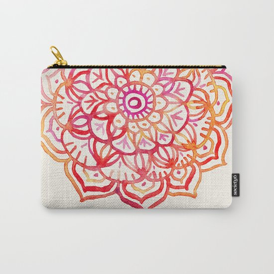 Watercolor Medallion in Sunset Colors Carry-All Pouch