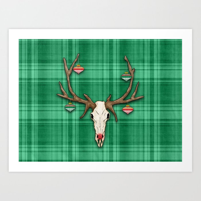 Reindeer Skull on Green Plaid Christmas Design Art Print