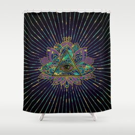 All Seeing Mystic Eye in Lotus Flower Shower Curtain
