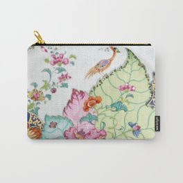 Damask antique floral porcelain china chinoiserie plate of flowers and crane bird vintage photo Carry-All Pouch