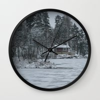 cabin Wall Clocks featuring Red Cabin by Accessorius