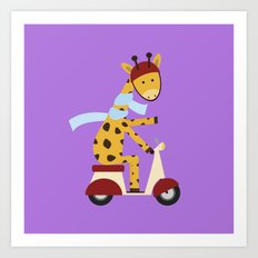 Giraffe on Motor Scooter Art Print