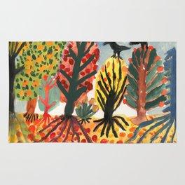 Autumn trees and black birds Rug