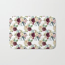 Burgundy ivory green watercolor boho floral pattern Bath Mat