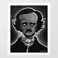 edgar allen poe Art Prints featuring Edgar by Paul Brogden