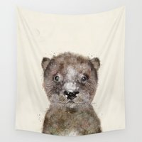 otter Wall Tapestries featuring little otter by bri.buckley