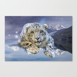 Snow Leopard and Moon Canvas Print
