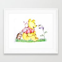 winnie the pooh Framed Art Prints featuring Winnie the Pooh & Piglet by laura nye.