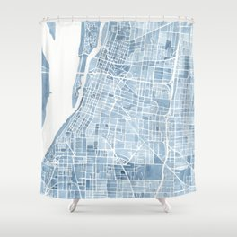 Memphis Tennessee blueprint watercolor map Shower Curtain