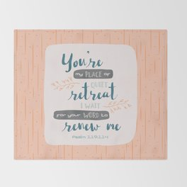 """""""Your Word Renews Me"""" Hand-Lettered Bible Verse Throw Blanket"""