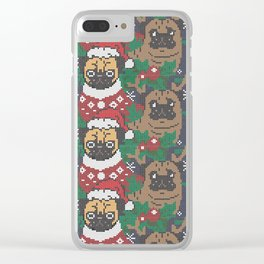 Christmas Party With The Pug Clear iPhone Case
