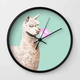 Playful Alpaca Chewing Bubble Gum in Green Wall Clock
