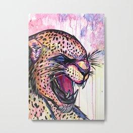 Leopard Scream Metal Print