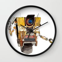 borderlands Wall Clocks featuring Borderlands Claptrap Watercolour by DifficultyEasy