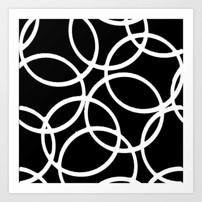 Interlocking White Circles Artistic Design Kunstdrucke