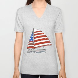 Sailing Gift Product Sailor Patriotic Sailboat Flag Tee Unisex V-Neck