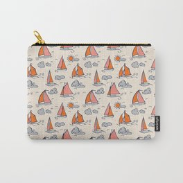 Sunny Sailboats on Cream Carry-All Pouch
