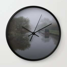 Moored in the mist Wall Clock