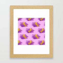 Gold Glitter Unicorns on Pink Framed Art Print