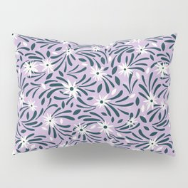 White flowers over a purple background Pillow Sham