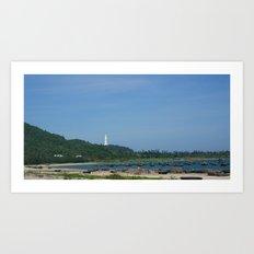Boat Scene in Danang Art Print